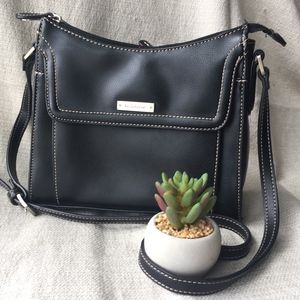 Liz Claiborne Black Vegan Leather Shoulder Bag